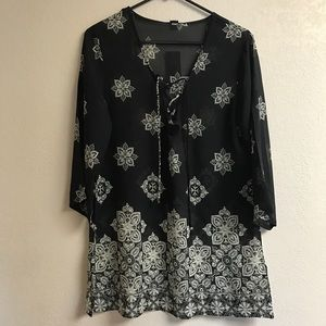 Black and Cream Print Cover-up